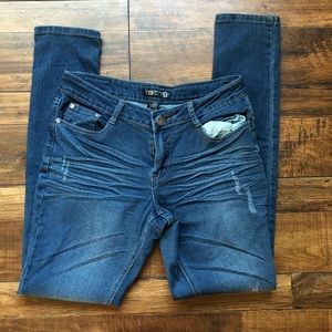 B.O.B distressed dark wash skinny jeans